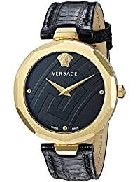 Versace Women's 'Idyia' Swiss Quartz Stainless Steel and Leather Casual Watch, Color:Black (Model: V17020017)