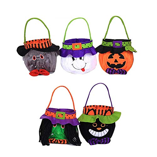 Unbekannt Halloween Candy Bag Tote, Cartoon-Kürbis Beutel, Halloween-Dekorationen Und Party-Dekorationen, Themen Party-Geschenke Für Kinder (5 Stile)