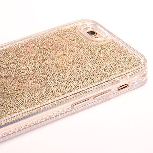 iPhone 6 Plus/6S Plus 5.5 Hülle, Voguecase Silikon Schutzhülle / Case / Cover / Hülle / TPU Gel Skin für Apple iPhone 6 Plus/6S Plus 5.5(Perlen Treibsand-girl boss-Gold) + Gratis Universal Eingabestif Perlen Treibsand - Gold