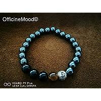 *serie Hematite* braccialetto Tiger Eye, Ematite, Onice Nera e perla argento