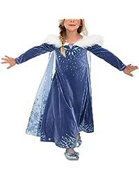 Eleasica Filles Cosplay Robe de Princesse Anna Elsa Manches Longues Reine des Neiges Longue Costume de Robe Bleu Chaude Doux Déguisements Partie Mascarade Halloween Noël 4-9ans
