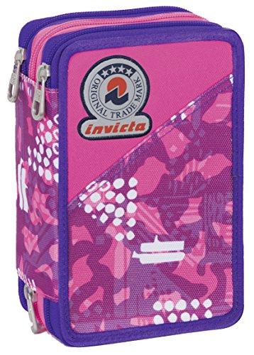 Astuccio 3 zip - invicta - triangle - attrezzato con penne, matite, pennarelli rosa