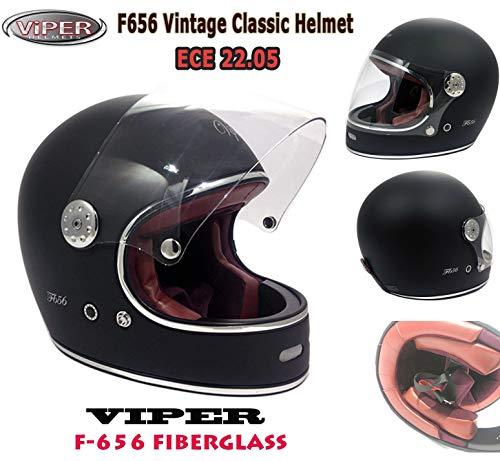 Casco Integrale Moto Vintage Fiberglass Viper F656 Casco in Fibra di Vetro Full Face Retro Stile Classico Custom Chopper Bobber Caschi ECE 22-05 Approvato, Tutti i Colori (Nero Opaco,M)