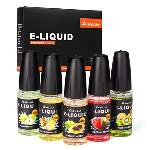 Salcar® 5x10ml Liquid E-Liquid for E Shisha / E cigarette, No Nicotine (Apple Smoothie + Kiwi Smoothie + Pineapple Smoothie + Papaya Smoothie + Watermelon Smoothie)