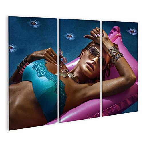bilderfelix® Bild auf Leinwand Porträt Einer attraktiven sexy Frau mit Sonnenbrille, entspannend, sonnend. Wandbild Leinwandbild Kunstdruck Poster 130x80cm - 3 Teile