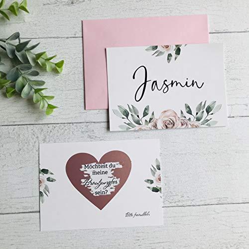 Karte Willst du meine Brautjungfer sein, Rubbelkarte, Hochzeit, Trauzeugin fragen, Personalisierte Geschenke - Rosa