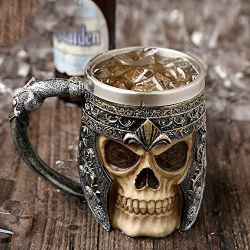 ZUEN Edelstahl Schädel Becher, 3D Axt Epacket Griff Viking Warrior 450 ml Schädel Becher Halloween Dekoration Skelett Tasse Bier Stein Mann Geschenk