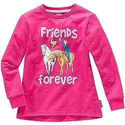 Kinder Mädchen SWEATSHIRT Bibi und Tina friends forever Pullover Sweater Pulli Pink 98 bis 152, Größe:110