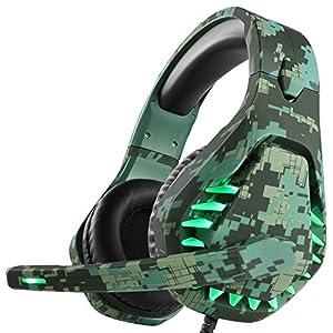 Gaming Headset für PS4 Xbox One PC Kopfhörer mit Mikrofon LED Licht Noise Cancelling Over Ear Kompatibel mit Nintendo Switch Games Laptop Mac PS3 (Camouflage Green)