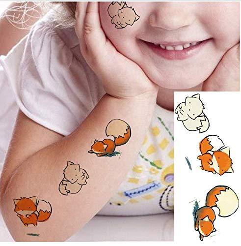ufkleberAquarell Fox Fake Cartoon Gesicht Hand Tattoo Aufkleber Kind Baby Bulk Tattoo Temporäre Frau Body Art Zeichnung Tattoo ()