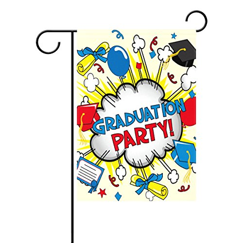Duble Sided High School Graduation Party Colorful Konfetti Hat Diplom Luftballons Bücher Polyester HAUS/Garten Flagge Banner 12x 18/71,1x 101,6cm für Hochzeit Party alle Wetter, Gesponnenes Polyester, multi, 28x40