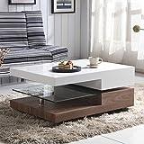 GOLDFAN Tavolino Recttangolare Legno Lucido Girevole a 2 Livelli, Vetro Tavolino Salotto Piano con Contenitore, Design Originale, Bianco & Noce