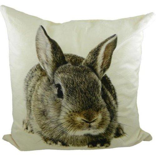 Kissen braunes Kaninchen - Dekokissen Hasen 50 x 50 cm