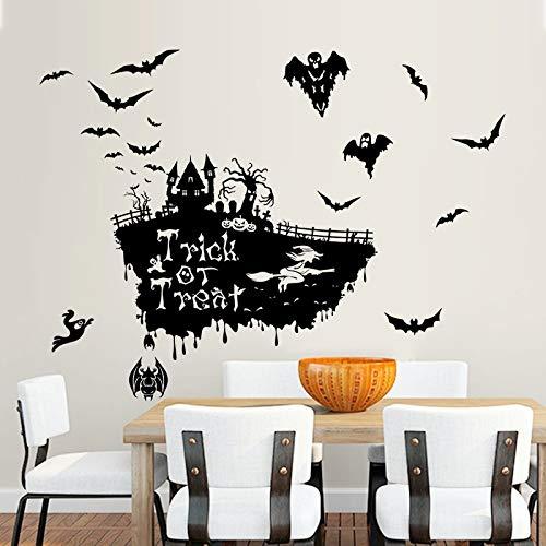Wall Sticker ZOZOSO Fliegende Fledermaus Bruja Cráneo Pumhpkin Pared Feliz Día De Halloween Truco Wandaufkleber Abziehbild