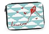 Federtasche Lenkdrache Stiftetasche Federmappe gefüllt Federmäppchen Drache Kinderdrache Papierdrache Wolken mit Wunschname FM043 (Blau)