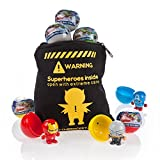 Marvel Avengers Bouncy Ball Heads Party Bag Fillers -Bag of Twelve Marvel Superheroes Figures - Party Favours or Stocking Fillers