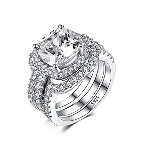 JewelryPalace Cushion 5ct CZ 3 Pc Wedding Band Stackable Halo Solitaire Engagement Ring Bridal Sets 925 Sterling Silver Size