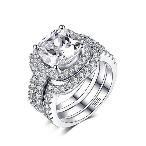 Verlobungsring Halo Cz (Jewelrypalace Kissen 5ct CZ 3 Pc Hochzeitsband Stapelring Halo Solitär Verlobungsring Braut-Sets 925 Sterling Silber Größe 49 to 62)