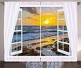 ABAKUHAUS Costiero Tenda, Open Window Aurora Mare, Salotto Camera da Letto Tende per Finestra Due Pannelli Set, 280 x 260 cm, Multicolore