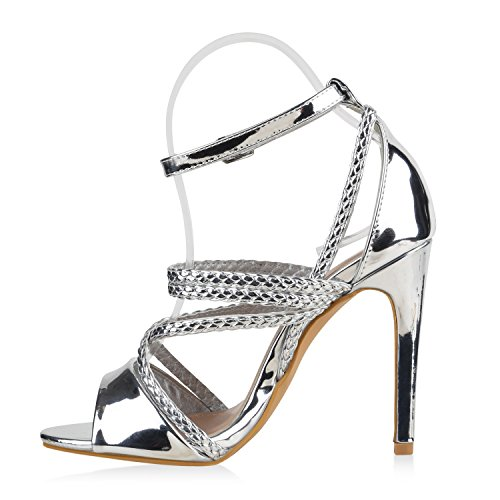 Damen Sandaletten | Plateau Sandaletten Strass | Stiletto Cut-Outs Schuhe | Party High Heels Metallic Lack | Partyschuhe Veloursleder-Optik Silber Silber Lack