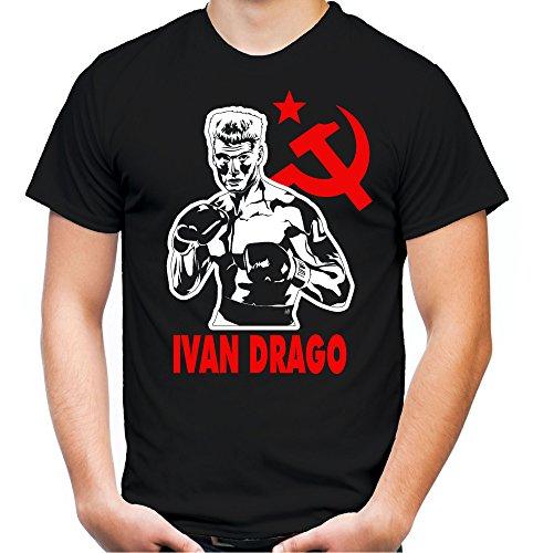 go Männer und Herren T-Shirt | Sport Boxing Gym Geschenk | M1 (XXL, Schwarz) (Ivan Drago Kostüme)