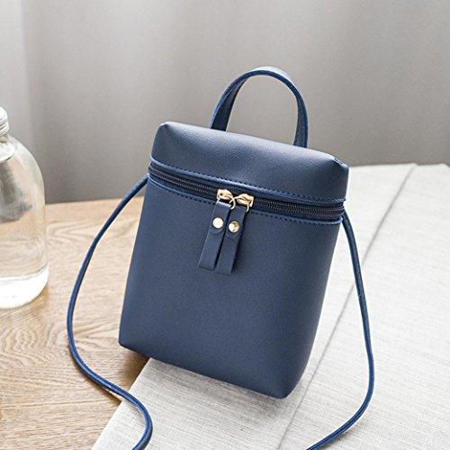 Longra Portafoglio del telefono mobile della borsa del messaggero della borsa a tracolla della borsa della chiusura lampo del doppio di colore solido delle donne del cuoio solido Blu