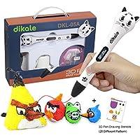 3D Stift Set für Kinder, 2 x 7.5M PLA Filament + 20 Seiten Schablonen für Kritzelei, Basteln, Zeichnung, Kunstwerk, Geburtstags Kinder und Erwachsene (EIN-Tasten-Bedienung)