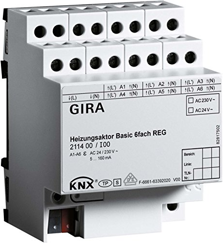 Gira Heizungsaktor 6f Basic 211400 KNX REG Bussystem-Heizungsaktor 4010337018414
