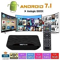 TV Box Android 7.1 - VIDEN W1 Smart TV Box Amlogic S905X Quad Core, 1GB RAM & 8GB ROM, 4K*2K UHD H.265, HDMI, USB*2, WiFi Media Player, Android Set-Top Box [Versión Mejorada]