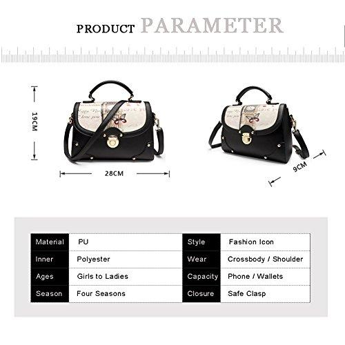 Sacchetto di spalla funzionale del sacchetto di spalla di grande capacità della borsa della stampa del sacchetto di stile di Yoome Street Style Nuova Chic - Nero Rosso