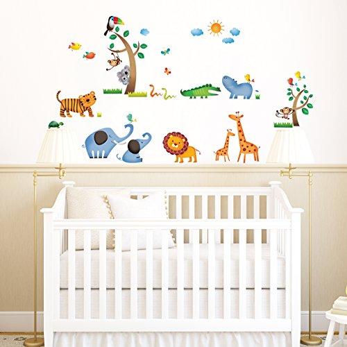 Decowall DW-1206 Dschungeltiere Wilde Dschungel Tiere Wandtattoo Wandsticker Wandaufkleber Wanddeko für Wohnzimmer Schlafzimmer Kinderzimmerq