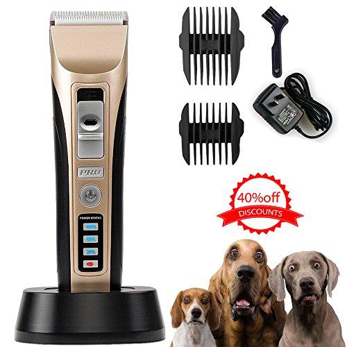 Oneisall Profi Hundeschermaschine Elektrisch Hund Haarschneider drahtlos Tierhaarschneider Haarschneidemaschine Schermaschine Rasierer Grooming Clipper Kit mit LED Anzeige für Hunde Katze Rasierer Golden