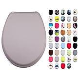 MSV WC Sitz Toilettendeckel MDF Holzkern Soft Touch Taupe Scharniere aus Edelstahl - hochwertige und stabile Qualität