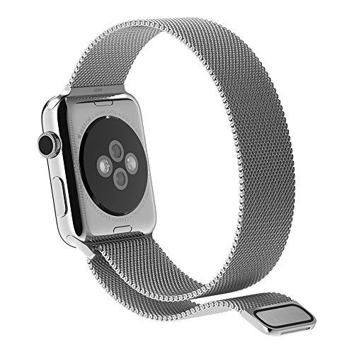 Preisvergleich Produktbild Mashion Apple Watch Armband, Premium Edelstahl Milanaise, mit Magnetverschluss, passend f¨¹r Apple Watch 1 & 2 (42mm, Silber)