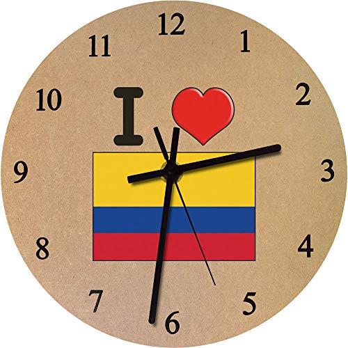 Azeeda 275mm 'I Love Colombia' Reloj de Pared Grande de MDF (CK00000160)