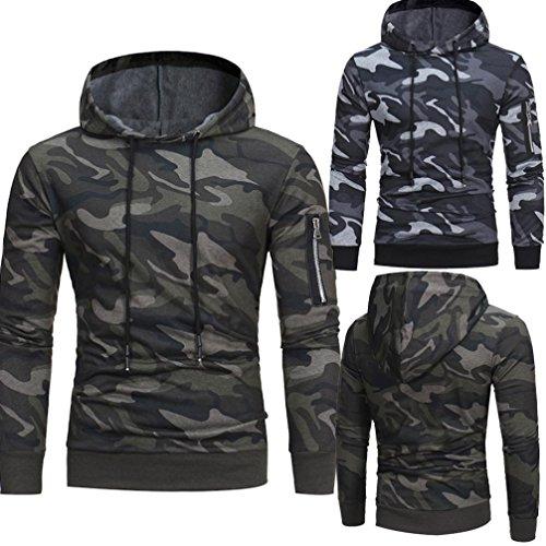 Toamen Men's Long Sleeve Camouflage Hoodie Sweatshirt, Fashion Mens Slim Designed Hooded Coat Jacket