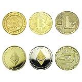 Fa. Wessel Bitcoin-Ethereum-Litecoin-Dash Sammlermünzen 6 Münzen als Set Krypto Währung mit echt-Gold und Silber überzogen das ideale Geschenk Münze Sammlermünze