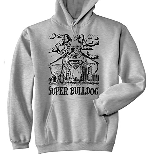 Teesquare1st Men's SUPERMAN WHITE FRENCH BULLDOG P New Grey Cotton Hoodie Size Small