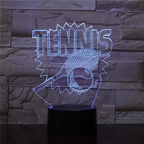 3d tennisschläger nachtlicht led bunte acryl touch tischlampe nachttischlampe decor usb baby schlaf beleuchtung kinder neujahr weihnachtsgeschenk @ touch switch