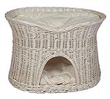 Floranica - L, XL Weißer Katzenkorb Katzenbett mit / ohne Kissen (wählbar), Kissenfarbe:helle Kissen, Größe:XL (B 70cm T 50cm H 50cm)