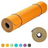 KeenFlex - Tappetino Yoga Pilates Fitness - Premium anti scivolo e confortevole - Extra Lungo 183 cm Splendido design a doppio strato (Orange & Dark Grey)