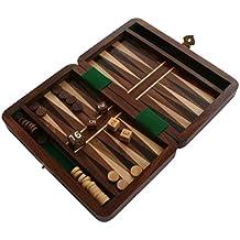 Backgammon Travel Set Wooden Board Hand Carved Game Vintage Folding Portable