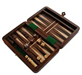 Backgammon Travel Set Wooden Board Hand Carved Game Vintage Folding Portable by Purity