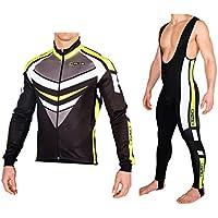 Completo ciclismo invernale giacca + calzamaglia antivento termico (L)