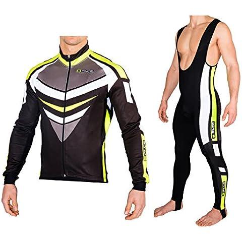 Completo ciclismo invernale giacca + calzamaglia antivento termico (M)