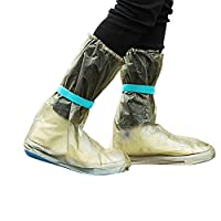Catkoo Rain Boots Clear,Unisex Portable Outdoors Travel Anti Slip Rain Shoes Covers Waterproof Boots Coffee L