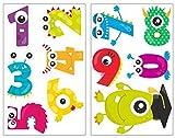 11 pièces Chiffres Monster Sticker mural pour chambre de Chambre de bébé, multicolore, 2x 21x34cm