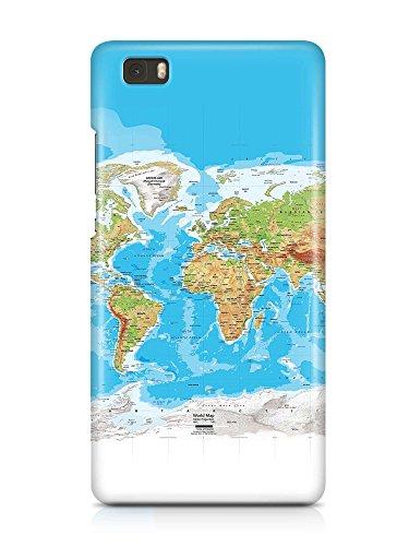 COVER Weltkarte Atlas Reisen Design Handy Hülle Case 3D-Druck Top-Qualität kratzfest Huawei P8 Lite