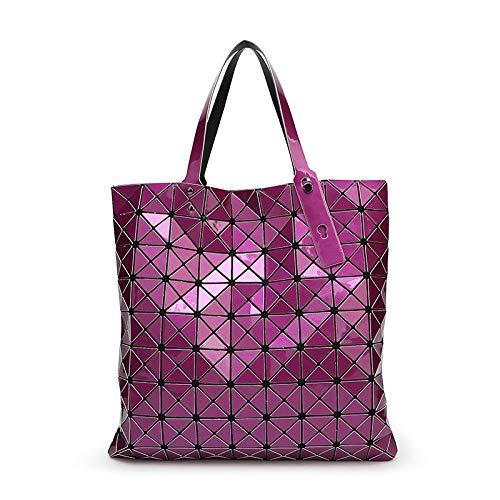 Wghz Damen Handtasche Gefaltet Damen Taschen Geometrische Plaid Handtaschen Laser Taschen Tote Damen Abendtaschen -