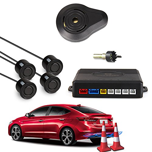 CAR ROVER Sensor Aparcamiento Kit 4 Sensor Marcha Atras con Zumbador Bibi Alarma de Sonido (Negro)